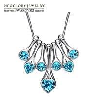Neoglory MADE WITH SWAROVSKI ELEMENTS Crystal Rhinestone Charm Necklace Geometric Shaped Platinum Plated Lady Elegant Gift