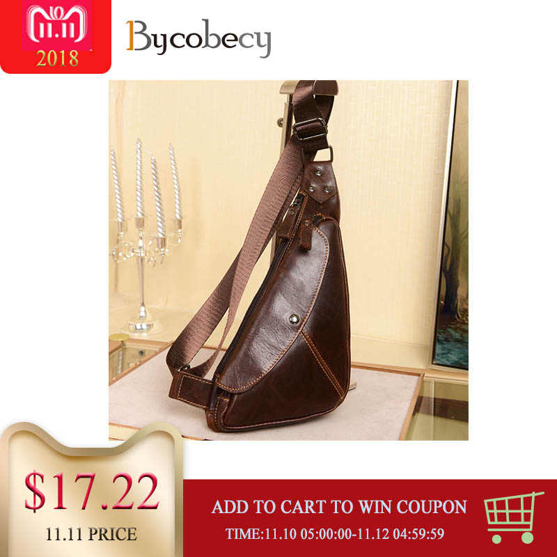 BYCOBECY High Quality Men Genuine Leather Chest Bag Cowhide Vintage Sling Back Pack Travel Fashion Cross Body Messenger Bags high quality genuine leather shoulder messenger bag men travel casual cross body bags cowhide male retro single chest back pack