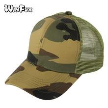 Winfox nueva moda camuflaje tapas de malla transpirable hombres del  ejército Gorras de béisbol ajustable Snapback sombrero para . 0c9717e7de1