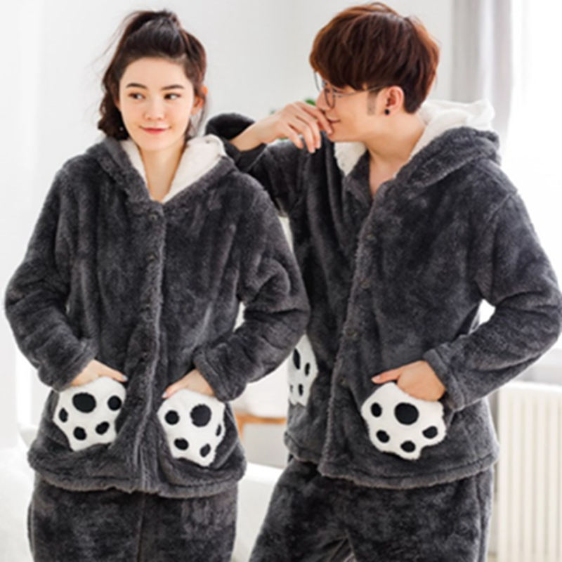JINUO Fashion Winter thicken flannel   pajamas     sets   women Warm couple sleepwear simple soft elegance male long-sleeve   pajamas