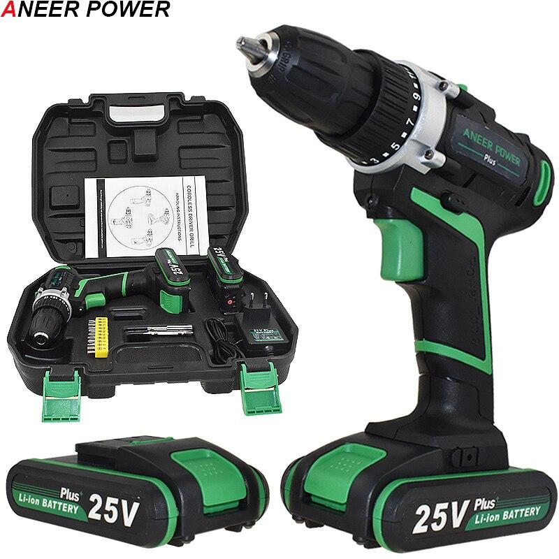 25V Plus Cordless Drill Electric Drill Electric 2 Batteries Screwdriver Power Tools Mini Drill Drilling Electric Screwdriver