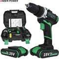 25V プラスコードレスドリル電気ドリル電気 2 電池ドライバー工具ミニドリル掘削電動ドライバー