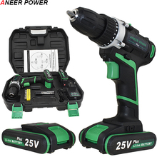 25V Plus Cordless Drill Electric 2 Batteries Screwdriver Power Tools Mini Drilling