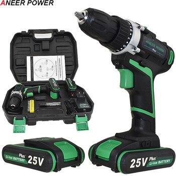 25V Plus Draadloze Boor Elektrische Boor Elektrische 2 Batterijen Schroevendraaier Power Gereedschap Mini Boor Boren Elektrische Schroevendraaier