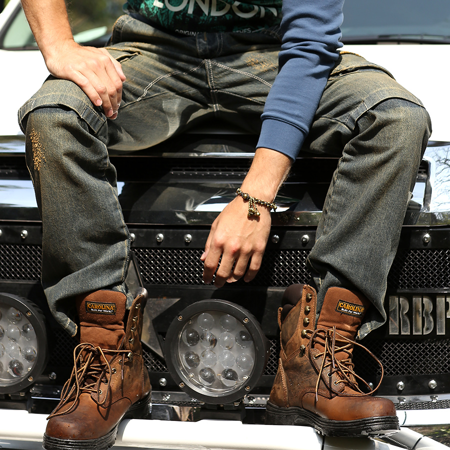 ФОТО Multi - pocket personalized denim trousers men retro casual wear tooling jeans tidedo536