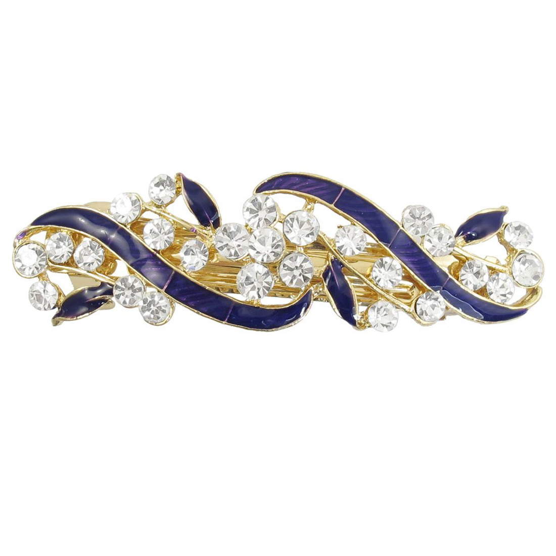 Gold Tone Metal French Clip Faux Crystal Inlaid Blue Hairclip Barrette