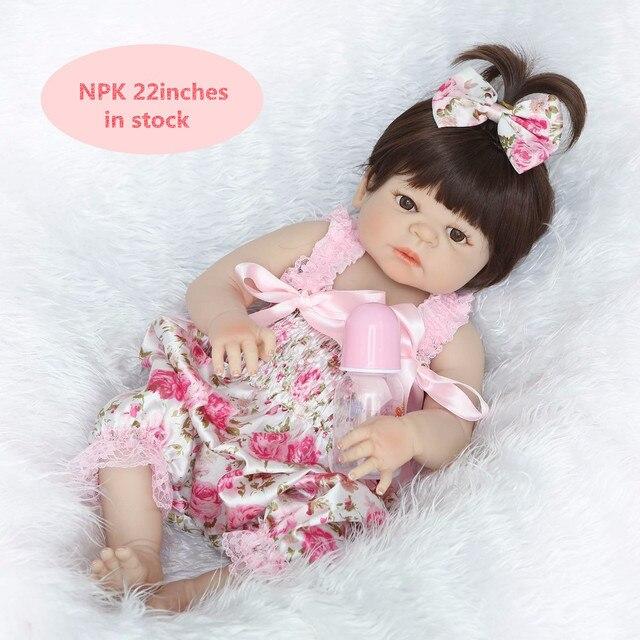 เด็กRebornตุ๊กตา55เซนติเมตรร่างกายเต็มรูปแบบซิลิโคนวิคตอเรียแฟชั่นใหม่จริงตุ๊กตาสาวสวยที่มีชุดดอกไม้