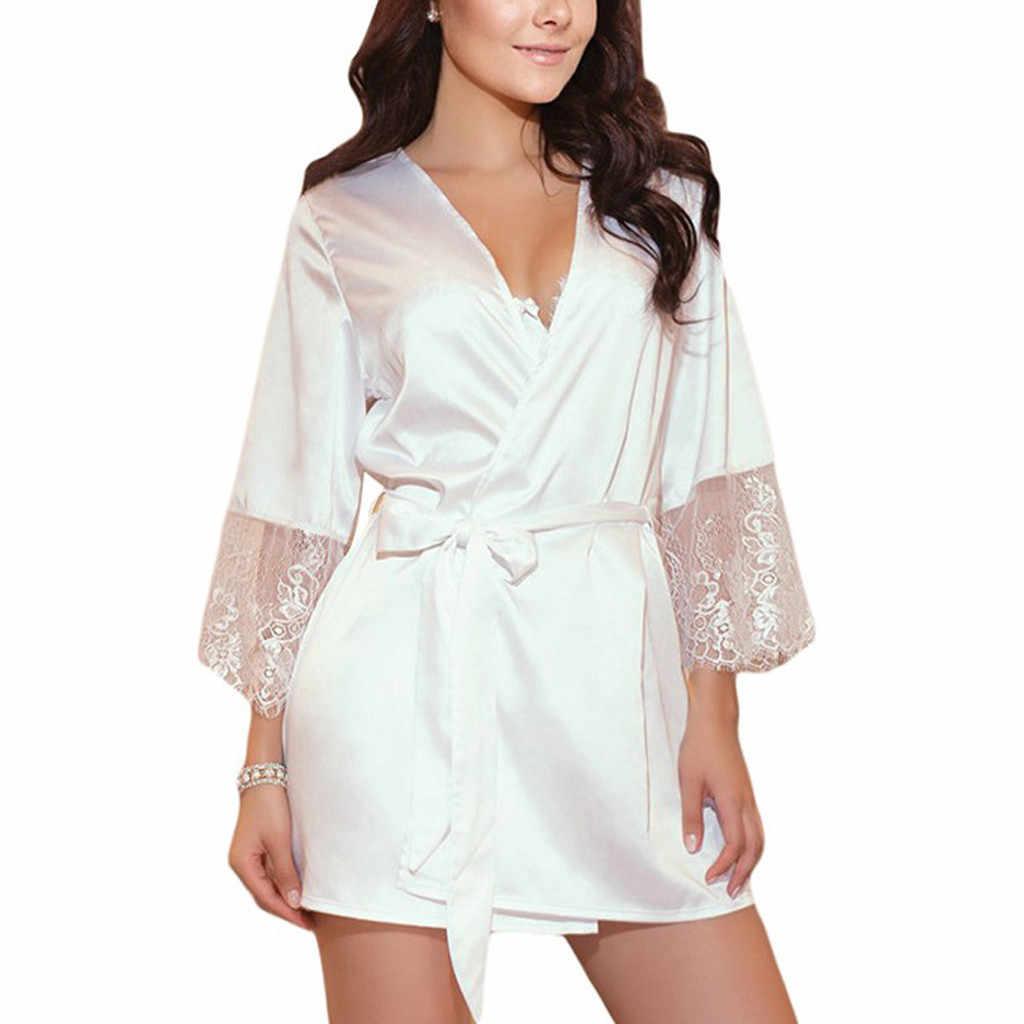 レースシルクサテン結婚式の花嫁介添人ローブ花バスローブ半袖着物ナイトローブバスローブファッションドレッシング女性のための