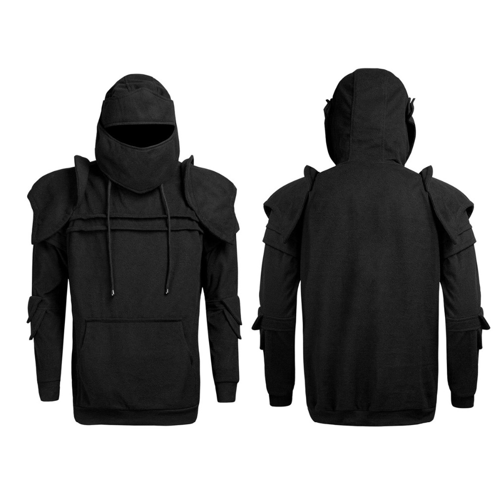 Men Hoodie Hunting Jacket Pleated Sleeve Hem Curved Long Fleece Hoodie Solid Men's Retro Drawstring Sweater Hunting Clothes