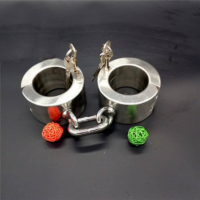 sex slave high 6cm handcuffs metal stainless steel bondage super Heavy Duty hand cuffs for sex fetish adult sex tools for sale
