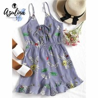 AZULINA Striped Ruffles Tied Bowknot Cami Romper Women Playsuits Sexy V Neck Bandage Jumpsuit Summer Beach