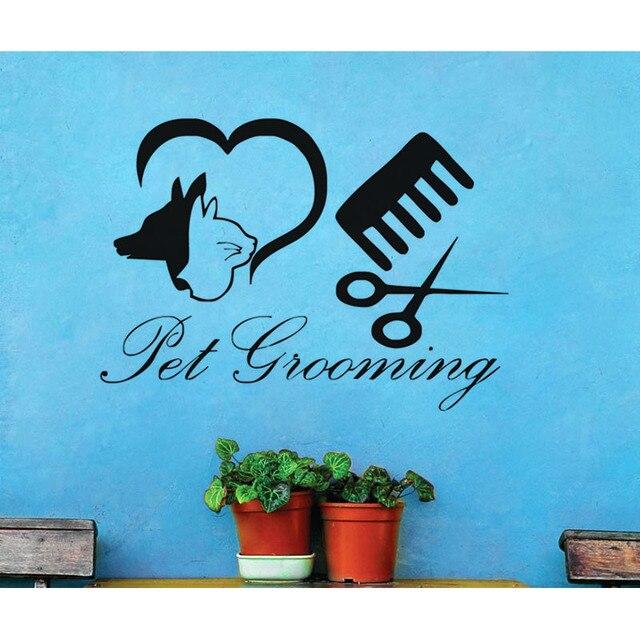 pet grooming wall sticker cat dog animals decorative vinyl wall