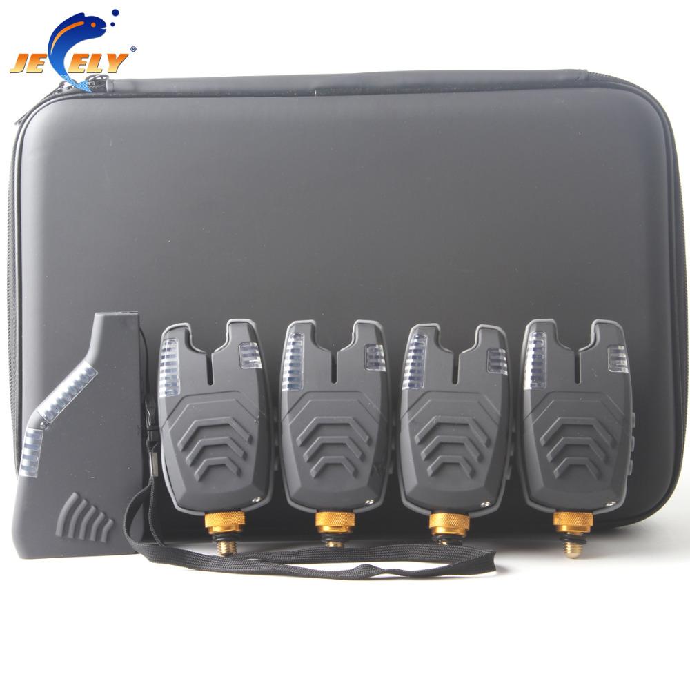 Prix pour Livraison Gratuite JY-57 alarme De morsure De Pêche sans fil alarme de morsure de pêche set 8 LED pour carpe de pêche bite alarm set (4 alarme + 1 récepteur)