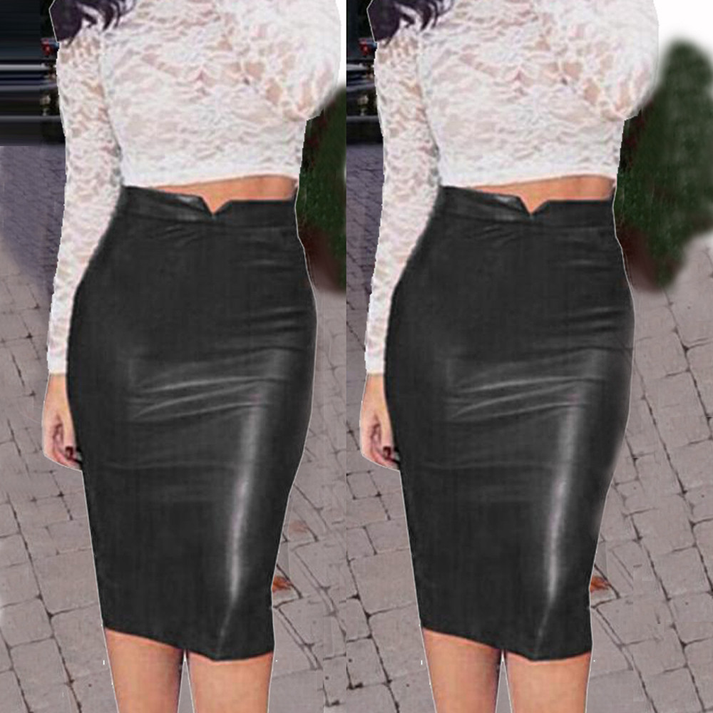 Female Skirt Slim Sexy High-Waist Hot-Sale Winter Plus-Size 2XL PU Pencil D4 title=