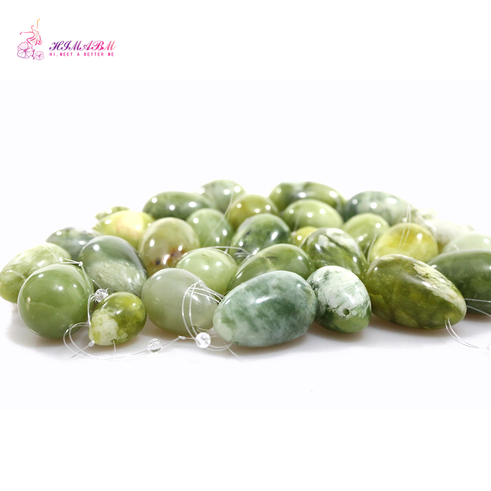 HIMABM Natural AAA+ 1 Set Drilled Jade Egg For Kegel Weight Exercise Pelvic Floor Muscle Vaginal Tightening Exercise Ben Wa ball