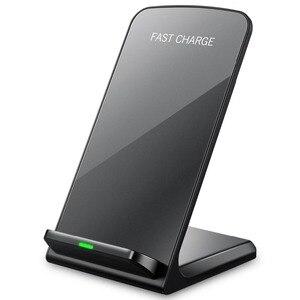 Image 1 - Cargador inalámbrico rápido 10W 9V para el iPhone de Apple 8 X XS XR soporte de escritorio almohadilla de carga inalámbrica para Samsung Note 8 S9 S8 Plus S7 S6
