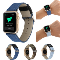 Fashion Outdoors Sports Blue Jeans Cloth Genuine Leather Watch Band For Apple Watch Iwatch Bracelet Running