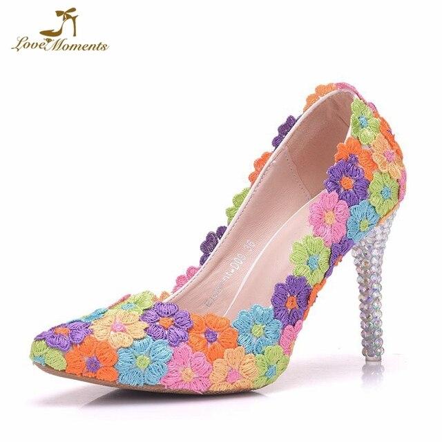 2018 Custom Made 9cm High Heel Wedding Dress Shoes Multicolor Lace Flower Bridesmaid  Shoes Girl Adult Ceremony Pumps Stone Heel ac34c27cc642