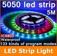 5m 6803 IC 5050 digital RGB led Strip RF remote control 150leds IP67 tube waterproof dream magic color 5A Led Strip 30LED/m
