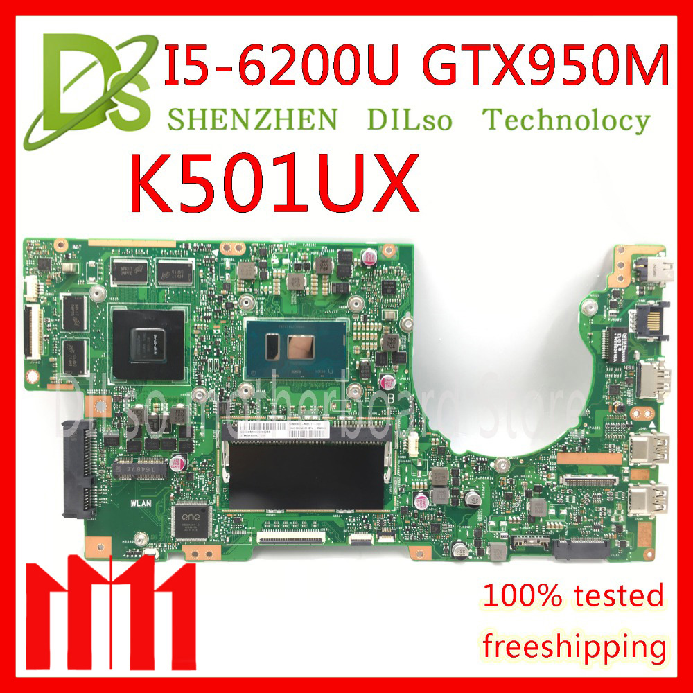 KEFU K501UX For ASUS K501UX K501UB K501U laptop motherboard K501UX mainboard rev2.0 i5-6200U cpu with GTX 950M Graphics card k501ux dm282t