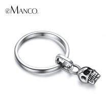 e-Manco 925 Sterling Silver Skeleton Rings Offset Punk Skull Rings Cool Unisex Party New Arrival Wholesale(China)