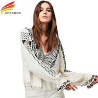 Boho Blouse Women 2017 Spring New Vintage Embroidered Cotton Tunic Tops Blouses White And Black Long