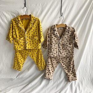 Image 5 - Herbst Winter jungen mädchen mode cartoon Pyjama Sets aus reiner baumwolle langarm shirt + hosen 2 stücke anzüge kinder kinder kleidung sets