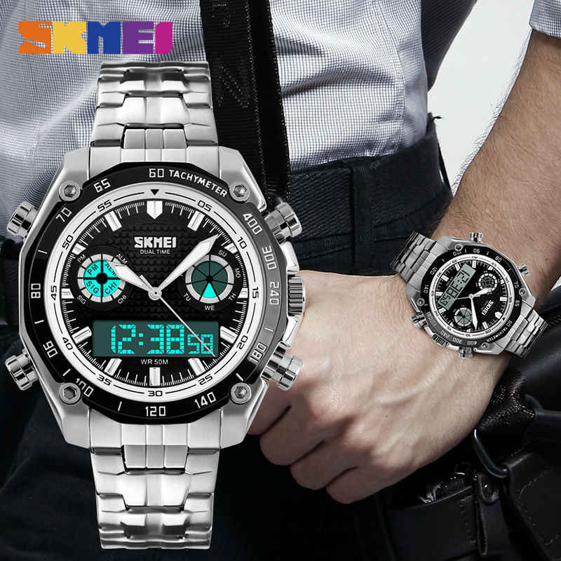 23771fe44 ... SKMEI Fashion Sports Watch Men 3Bar Waterproof Luxury Watches Stainless  Steel Dual Display Wristwatches reloj hombre ...