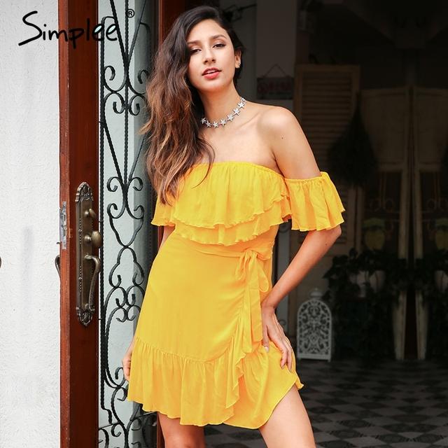 Simplee Off Shoulder backless summer dress women 2017 Lace up sash ruffle sexy black dress zipper short dress vestidos de festa
