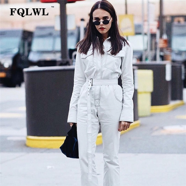 FQLWL Sexy Denim Jumpsuit Women Romper Long Sleeve Belt Black/White Winter Autumn Jeans Jumpsuit Female 2018 Streetwear Overalls