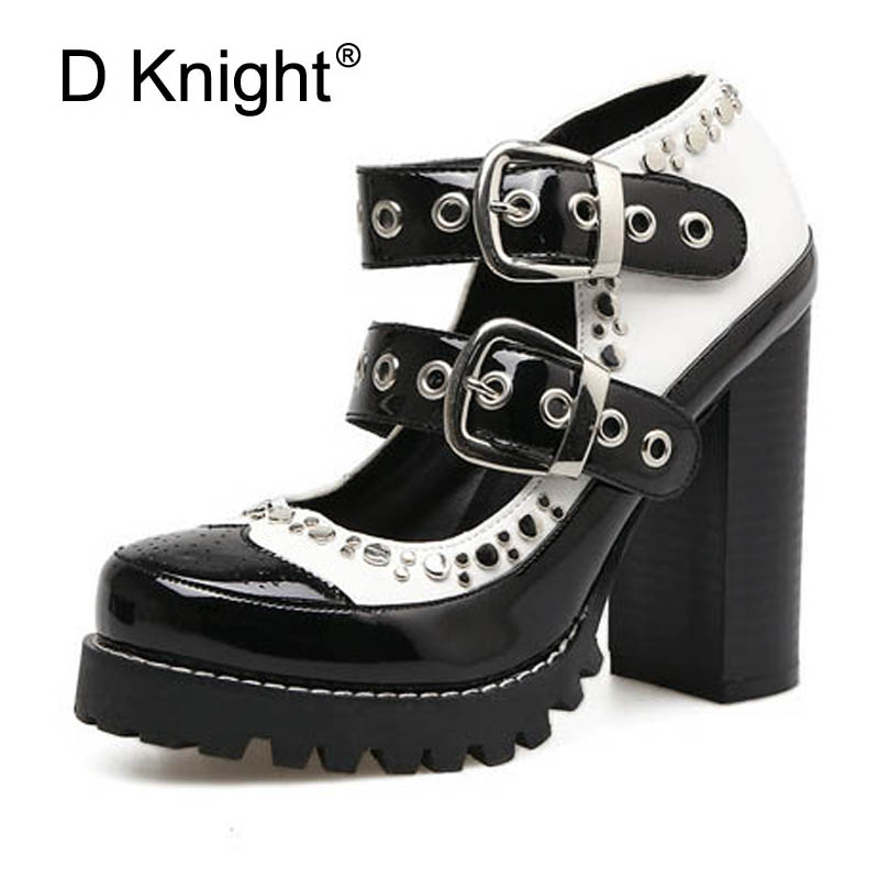 Rivet Square Heel High Heels 10.5cm Autumn Fashion Pumps New Buckle Strap Mary Janes Spring Female Footwear Plus Size 35-41 Shoe xiaying smile woman pumps shoes women mary janes british style fashion new elegant spring square heels buckle strap rubber shoe
