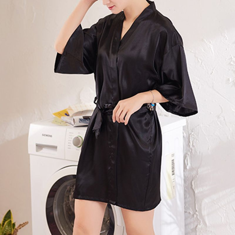 Womens Faux Silk Kimono Short Bath Robe Bride Bridesmaid Glitter Gold Letters Nightgown Belted Wedding Getting Ready Sleepwear in Babydolls Chemises from Novelty Special Use