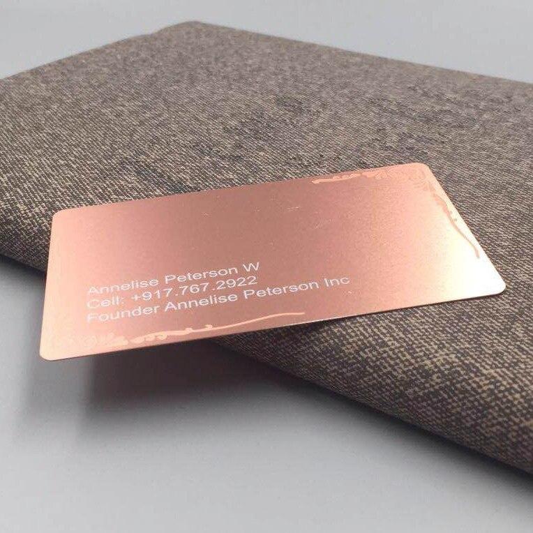 Купить с кэшбэком Custom Design Rose Gold Plated Laser Cutting Stainless Steel Business Metal Card
