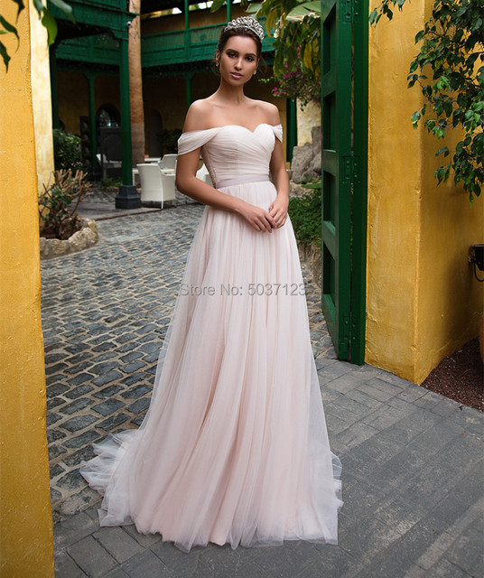 Pink Tulle Wedding Dresses with Sleeves 2021 Off Shoulder Sweetheart Lace Up Floor Length Wedding Bridal Gowns Vestido de noiva 4