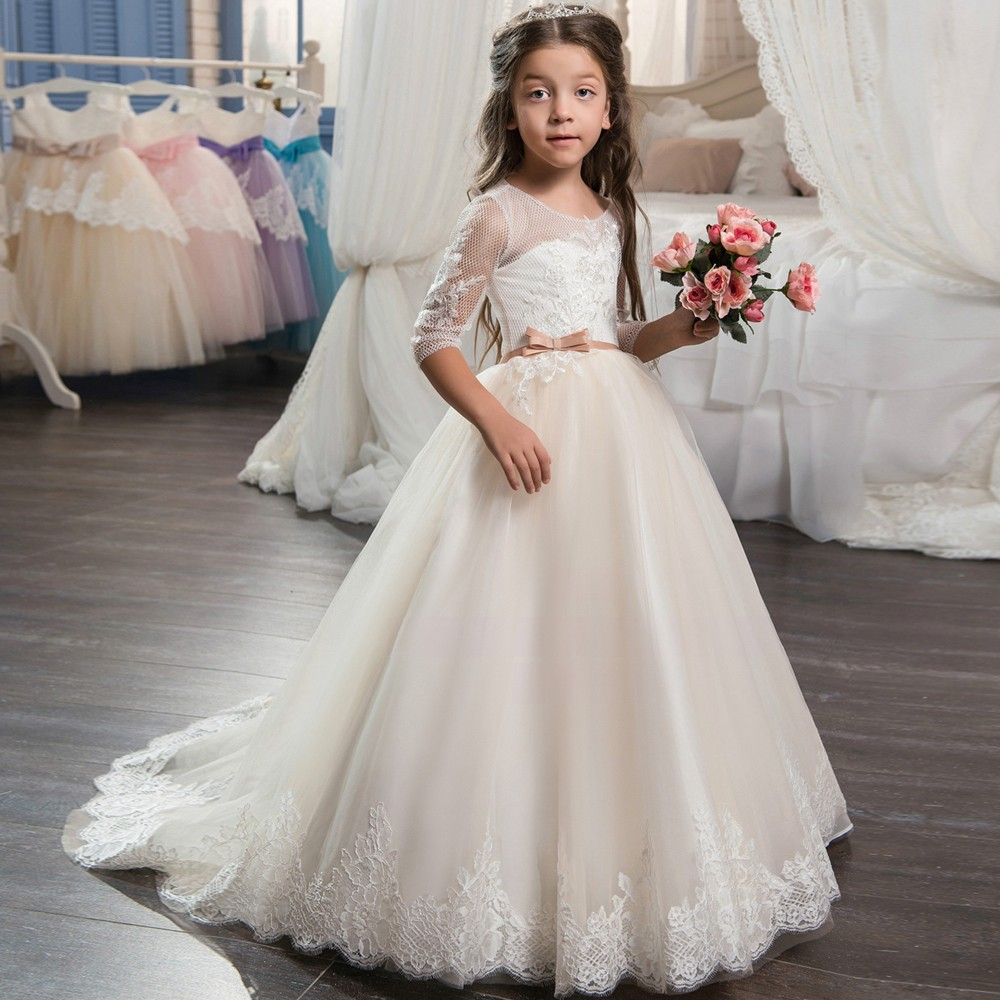 Beautiful Champagne Lace Up Flower Girl Dress 2018 with Sleeves Lace Mother Daughter Dresses for Girl Tulle Ball Gown Prom Dress new red champagne flower girl dresses long sleeves lace satin mother daughter dresses for children christmas party prom gown