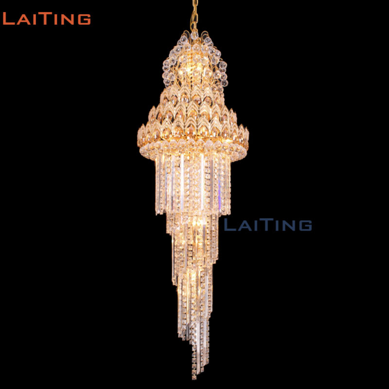 DHL Free Shipping INDIA Gold Vintage Empire Pendant Lamp Crystal Large Chandelier for Stair Lighting free shipping rotating 681 bohemia stair lamp crystal large pendant light