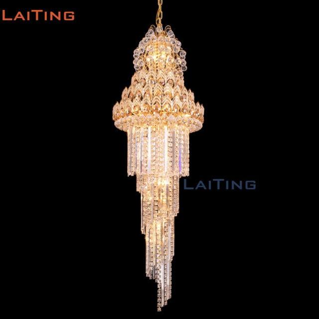 Dhl Free Verschiffen Indien Gold Vintage Reich Pendelleuchte Kristall Große  Kronleuchter Für Stufenbeleuchtung