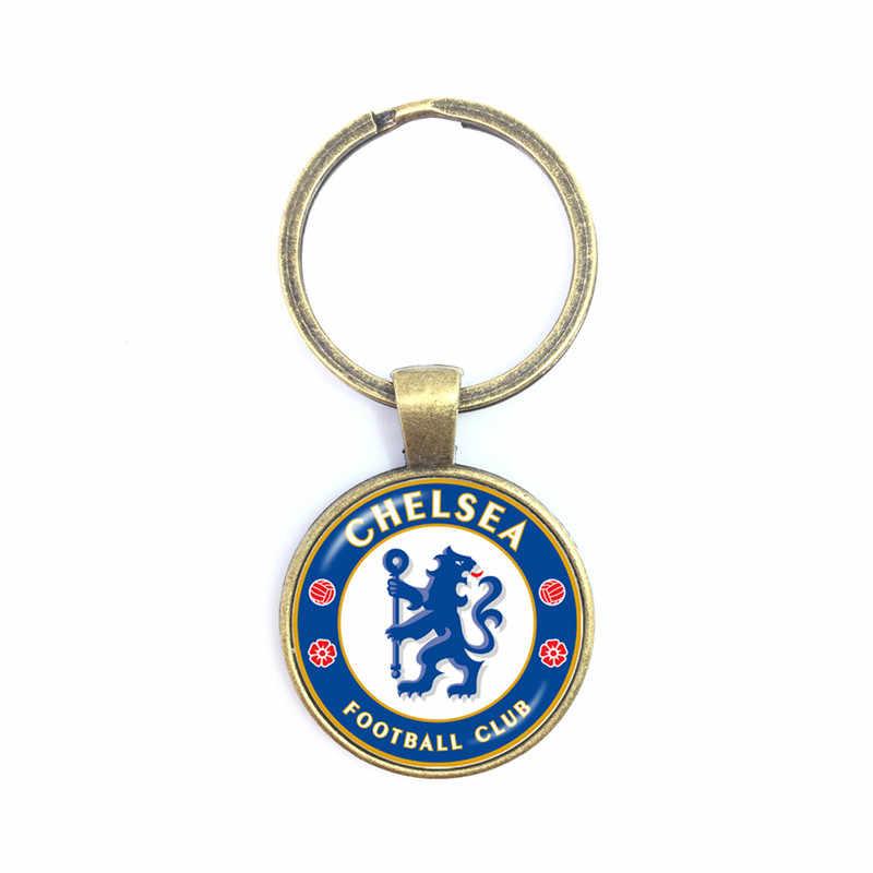 Liverpool Football Club 25mm Glass Cabochon KeyChain Football Team Logo Soccer Club Key Ring Holder For Fans Gift