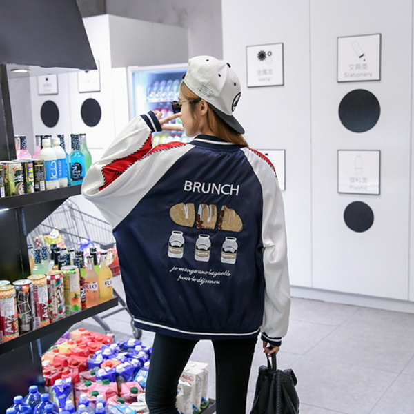 2017 Del Otoño Del Resorte satén Hamburguesas bordado chaqueta de bombardero cha