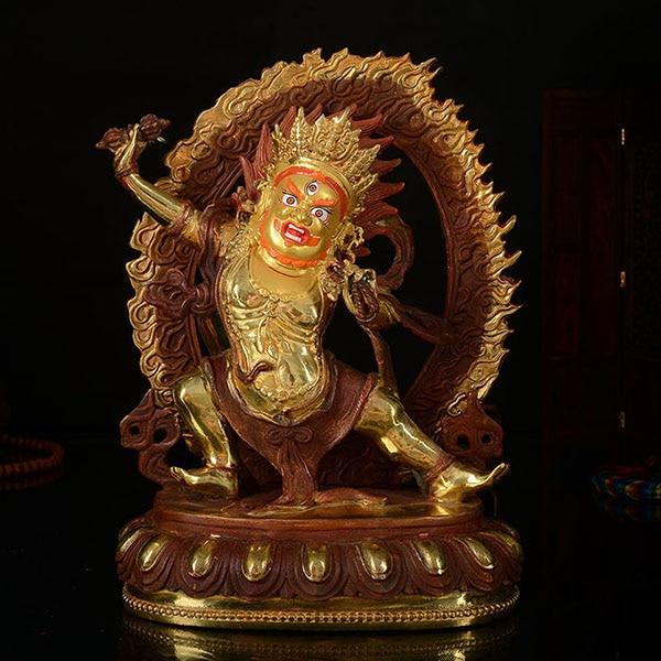 Sprzedaż hurtowa budda 25 CM HOME talizman skuteczna ochrona buddyzm tybetański KAIGUANG wadżrapani złoty plated budda rysunek statua w Posągi i rzeźby od Dom i ogród na  Grupa 1