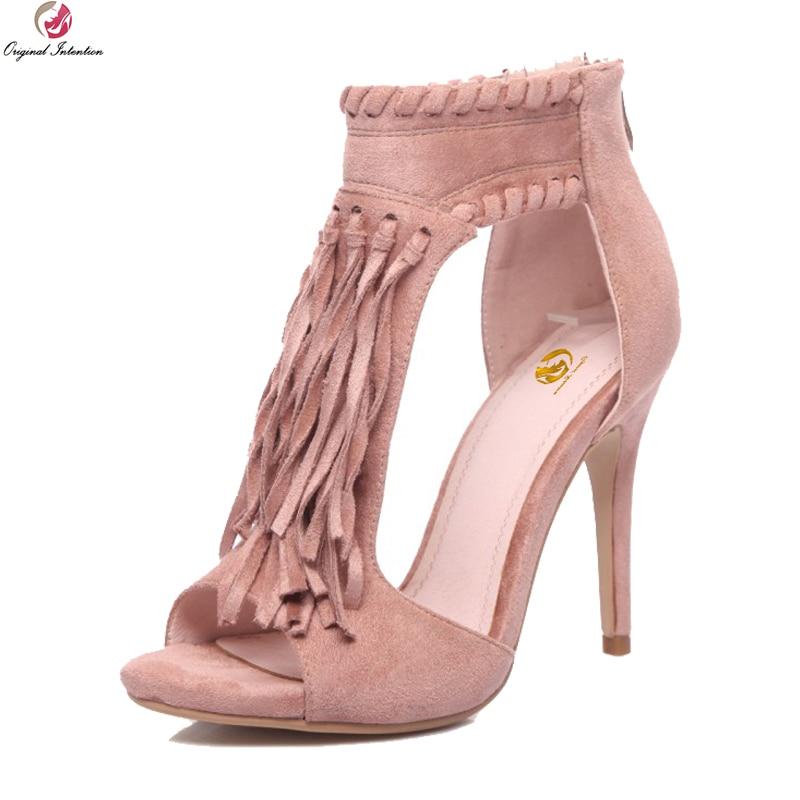 Original Intention New Fashion Women Sandals Fringe Open Toe Thin Heels Sandals Black Beige Pink Shoes Woman Plus US Size 3-13 inc new cement tonal beige women s size xs scoop neck open knit sweater $79 348