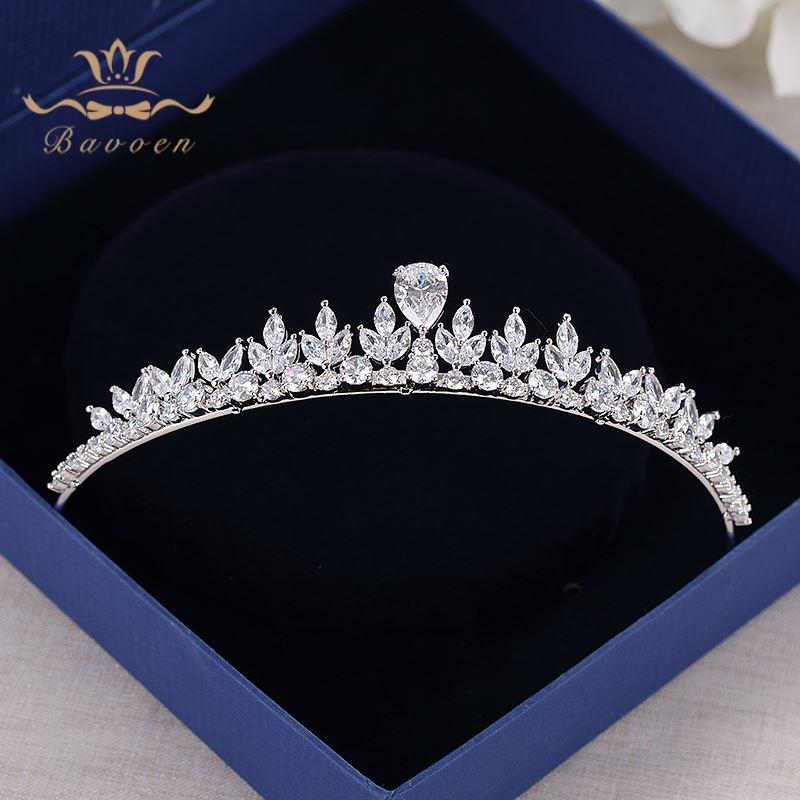 Bavoen Funkelnden Zirkon Hochzeit Kleid Haar Zubehör Silber Bräute Kronen Tiaras Überzogene Kristall Haarbänder Abend Haar Schmuck