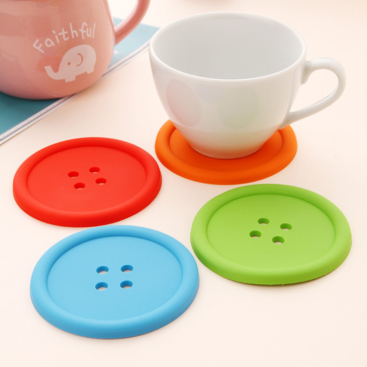 4Pcs/Lot Hot Selling Cute Silicone Round Button Coaster Cup Mug Mats Holder Cushion Home Table Decor Coffee Drink Placemat