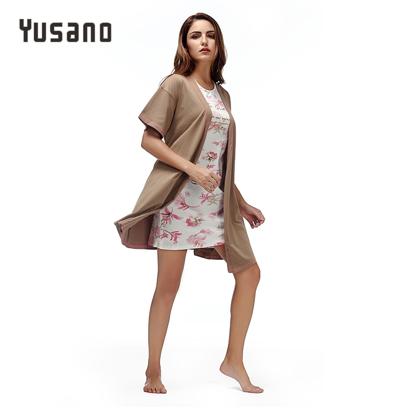 Yusano Women Dresses Sexy Robe Nightgown Cotton Bathrobe Sleep Dress 2 Pieces Floral Print Gown Nightwear Knee Housecoat