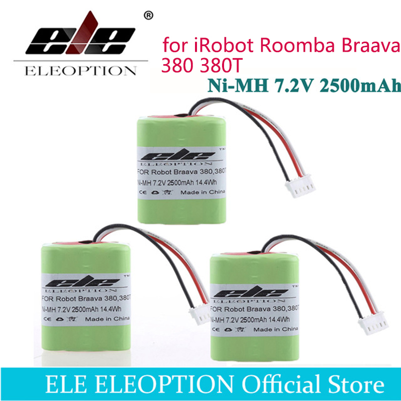 ELEOPTION 3PCS 7.2Volt New 2.5Ah 2500mAh Ni-MH 7.2V Rechargeable Battery for iRobot Roomba Braava 380 380T High Quality