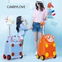 CARRYLOVE Multi функция, мультфильм чемодан Дети Тележка Для Хранения Чехол Жесткий дипломат детей carry on дорожная сумка с колесом