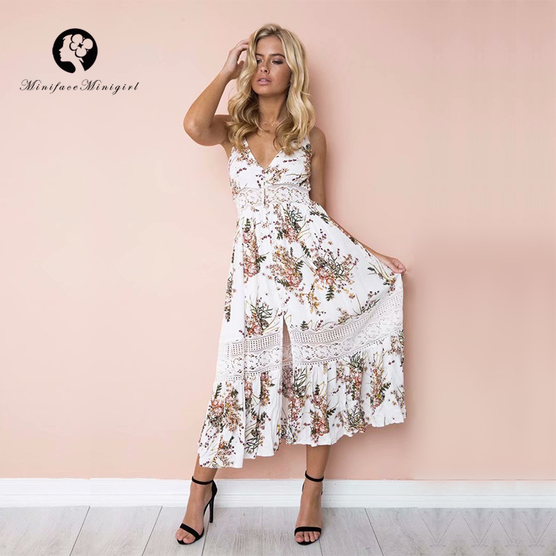 White Summer Long Floral Print Women Dress Casual High Cut Out Ruffles Dresses Robe Femme Beach Vestidos 2018