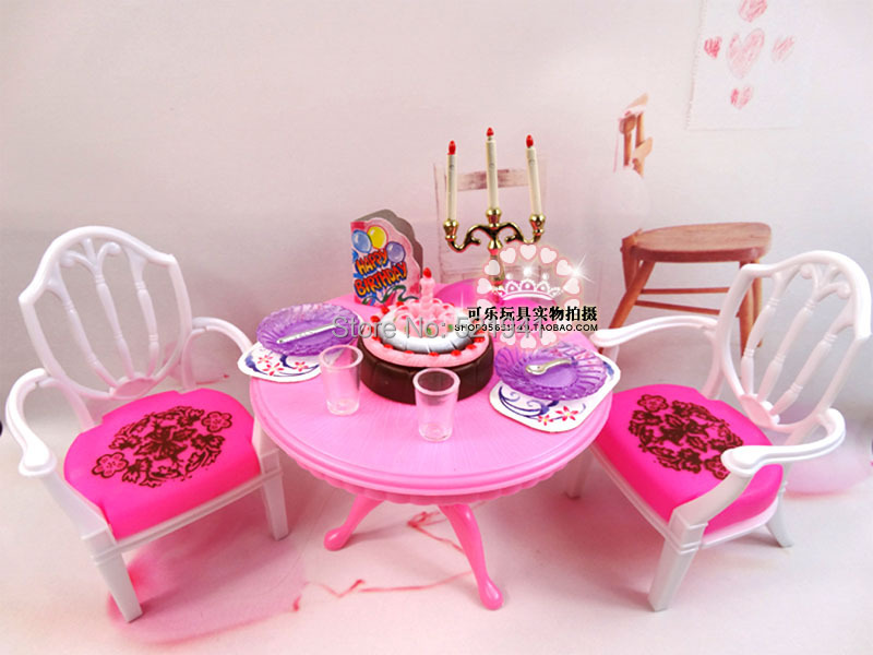 Free Delivery Woman birthday reward Play Set Furnishings equipment desk go well with doll equipment for barbie doll,doll furnishings