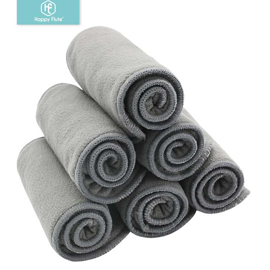 Happy Flute 10pcs Quality Baby Nappies Bamboo Charcoal Liner Nappy Diaper Insert For Baby Cloth Diaper Nappy Washable 4 Layers