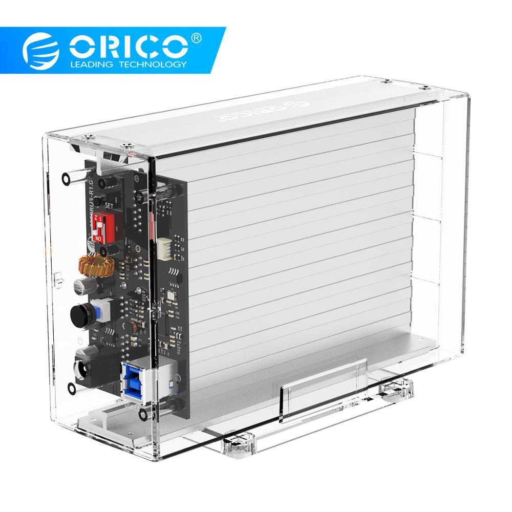 ORICO 3.5 Inch Hard Drive Enclosure With RAID 0 1 PM SPAN Transparent USB3.0 To SATA External HDD Case Box Support 24TB UASP